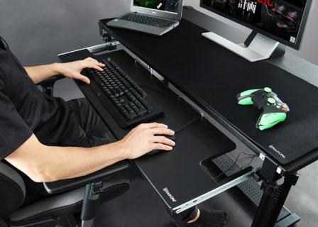 Bauhutte、PCデスクに後付けできるキーボードスライダーの横幅1mモデルを販売開始。クランプ式で手軽に取り付け可能