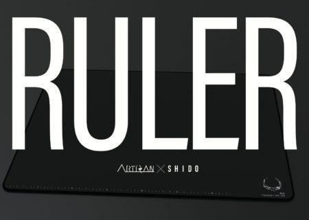 SHIDO、Artisanとのコラボマウスパッド「RULER」を発表。表面に刻まれた目盛りによって振り向き距離を測定可能