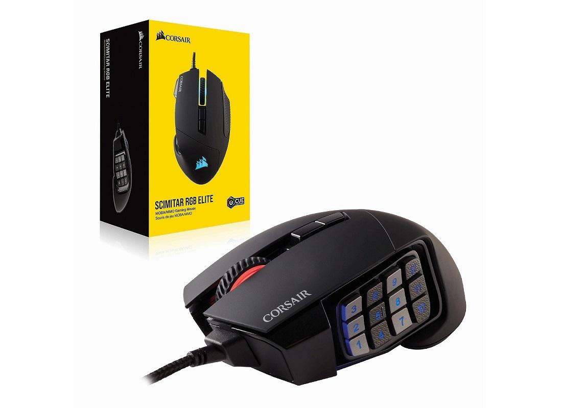 Corsair、計17ボタンを備えるMOBA/MMO向けゲーミングマウス「Corsair Scimitar RGB Elite」を2月22日(土)に国内発売