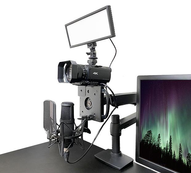 長尾製作所、モニターアームに取り付けるカメラ&マイクマウント「NB-MV001MH」を発表