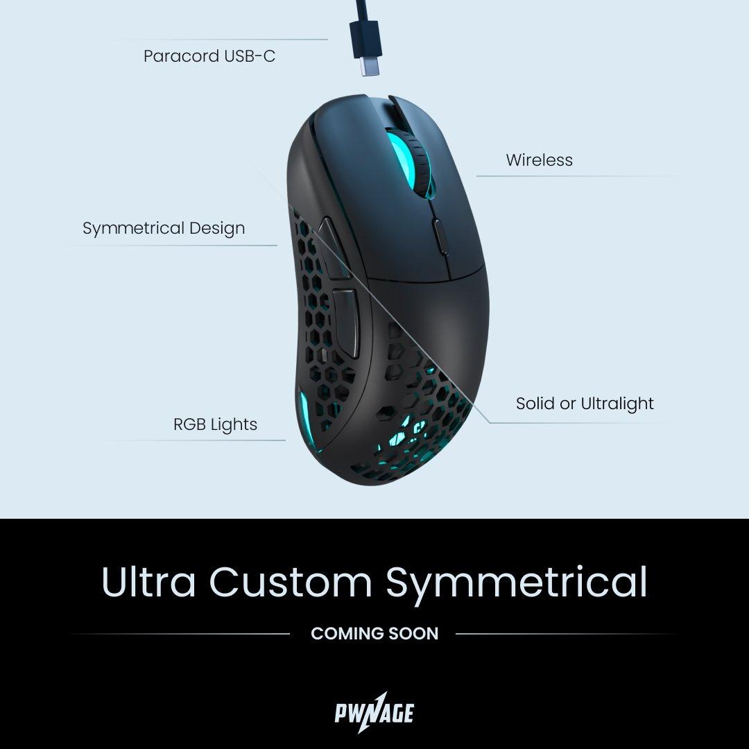 Pwnage、シェルを交換可能な左右対称型の無線ゲーミングマウス「Pwnage Ultra Custom Symmetrical」を発表