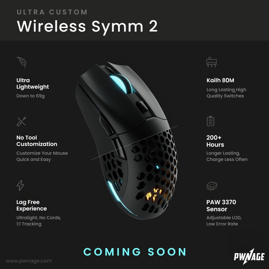 Pwnage、左右対称ゲーミングマウス「Pwnage Ultra Custom Wireless Symm 2」を発表。PAW3370センサーやKailh80Mスイッチなど大幅にスペック向上
